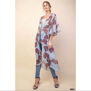 Louise - Washed Chiffon Leaves Printed Kimono